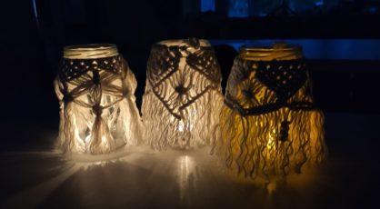 Makramowe lampiony w ramach warsztatw EkoDeko