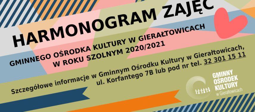Plakat dotyczcy harmonogramu zaj w Gminnym Orodku Kultury