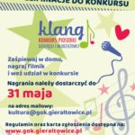 Plakat ogłaszający konkurs piosenki dziecięcej i młodzieżowej Klang.