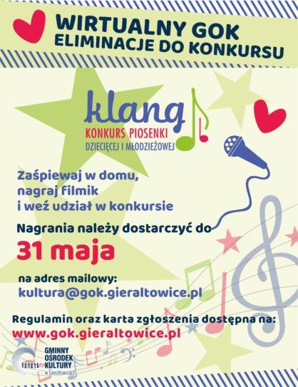Plakat ogaszajcy konkurs piosenki dziecicej i modzieowej Klang