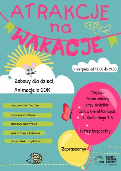 plakat informujcy o zabawie dla dzieci